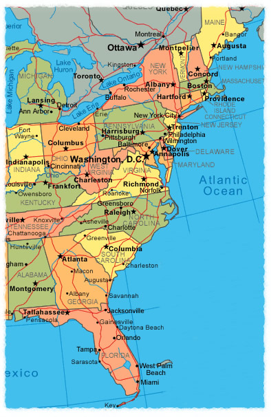 Us Map Atlantic Coast EAST COAST USA: TRAVEL   MAPS